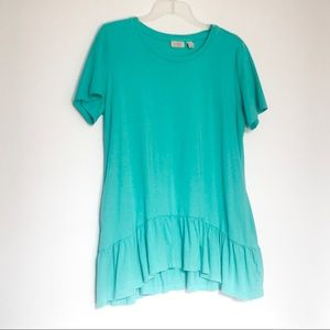 LOGO By Lori Goldstein Ruffle Top With Pocket's M